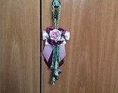 Furniture Accessory, Decoration for Furniture, Bouquet on Ribbon, Small Burgundy Bouquet on the Door Handle