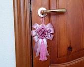 Pink Furniture Tassel, Decorative Tassel, Door Tassels, Pink Ribbon Tassel, Tassel with Big Flower and Bow