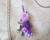 Keychain with Purple Tassel, Chain Décor, Small Flower on Lace, Zipper Pull Ceychain, Handbag Accessories, Bag Charm, Key Tassel Handmade