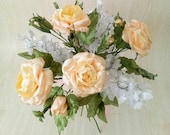 Handmade Wedding Bouquet, Ivory Rose, White Lilac, Bridal Bouquet, Wedding Flowers, Roses Bouquet for Wedding, Roses of Satin Ribbons