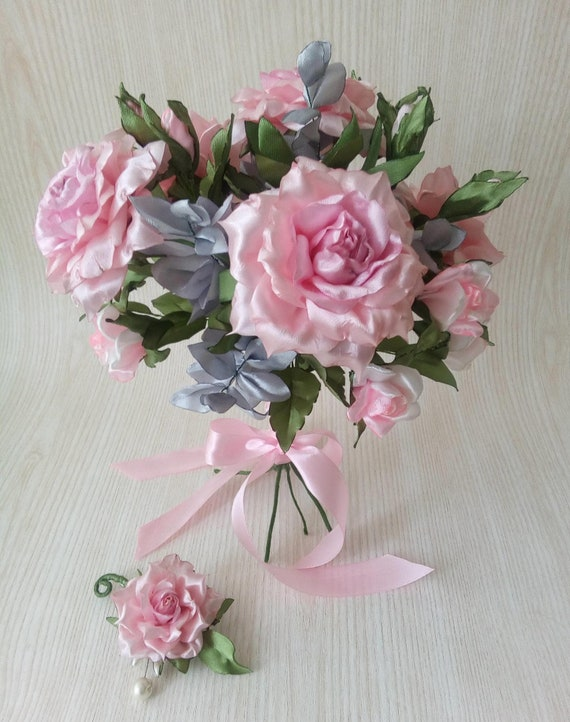 Bridal Bouquet Pale Pink Roses Light Pink Roses Pink Wedding Wedding Decor Real Touch Bouquet Hand Crafted Flower