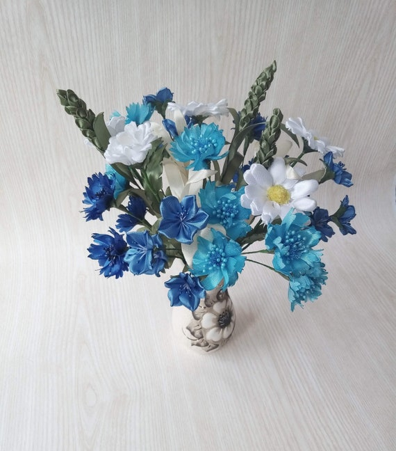 White Daisies and Blue Cornflowers. Pretty Bunch of Artificial Silk Flowers