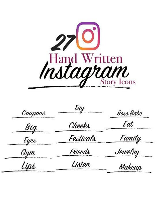 Set of 27+ Script font Hand Written Instagram Story Icons   Instagram  Highlight Covers   Social Media Icons   Instagram and Blogger Icons