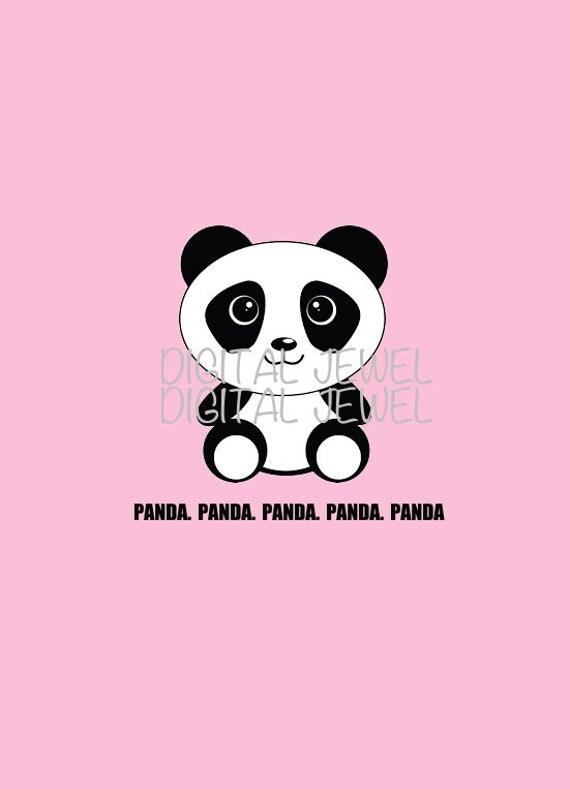 Pink Cute Panda Print Panda Bear Iphone Wallpaper Etsy