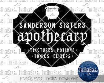 Sanderson Sisters Apothecary   Digital Download, Sublimation Design, PNG & SVG file