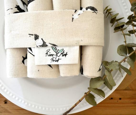21 x 25cm Small Hand Printed Fresh food bag 2 layer screen print on HempOrganic cotton /'Magpies Magpies Magpies/'