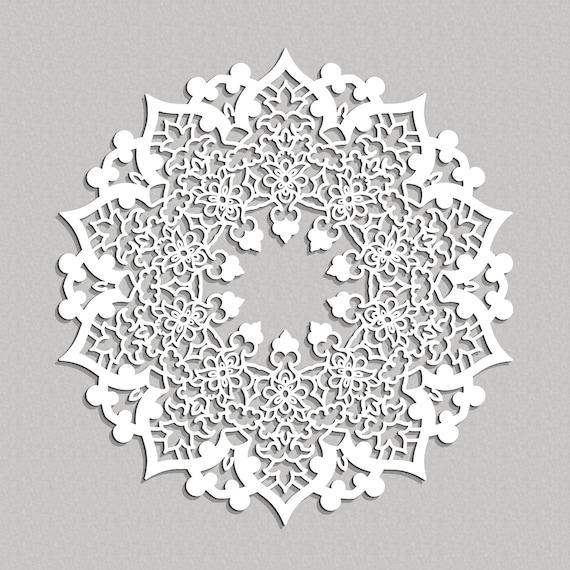 3D MANDALA persan, panneau décoratif ajouré, décor de mur élégant,  graphiques de mur fleuri, orient style décor, art mural bois, ornement