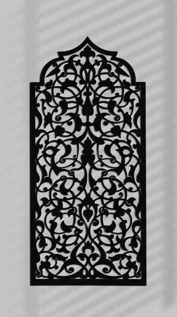 décoration murale en bois élégant 3D, marocain, arabe ajouré décoration  murale, ornement arabe, salon, panneau décoratif en bois mural, cadeau