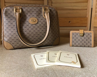 bea6f80da8d9 Vintage Gucci GG Monogram Tan Boston Speedy Doctor Handbag Purse with  Notepad Case