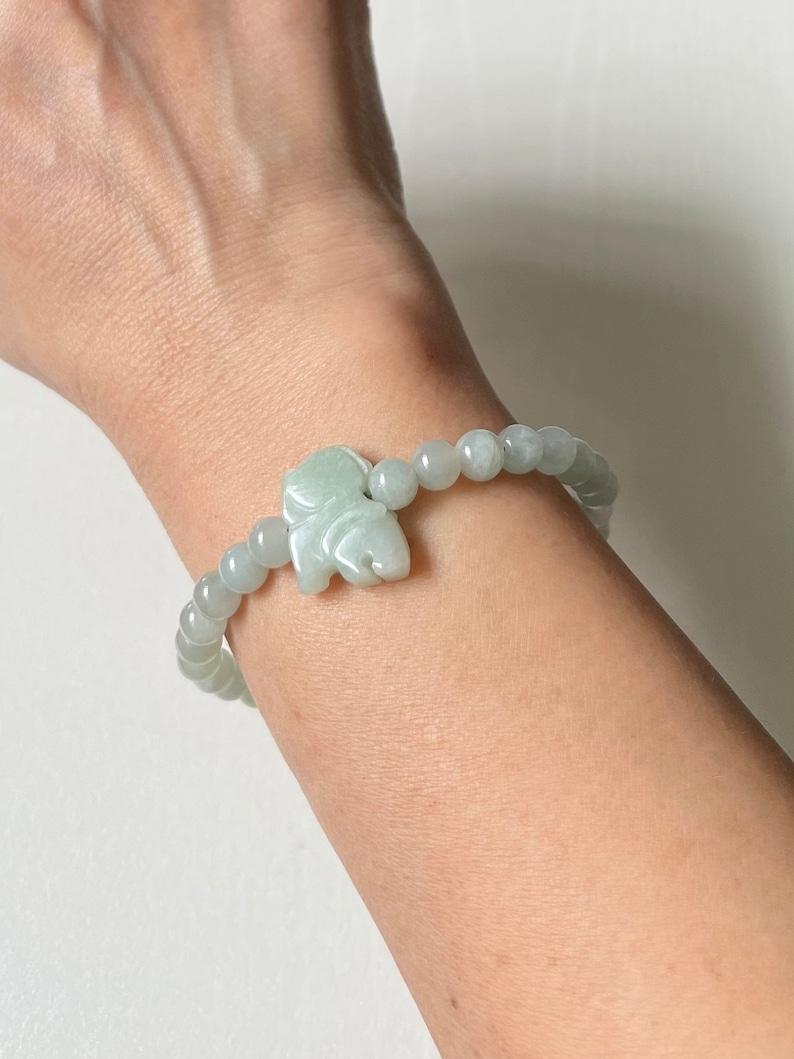 Natural Grade A Myanmar Light Green Jadeite  animal charm Elastic Bracelet