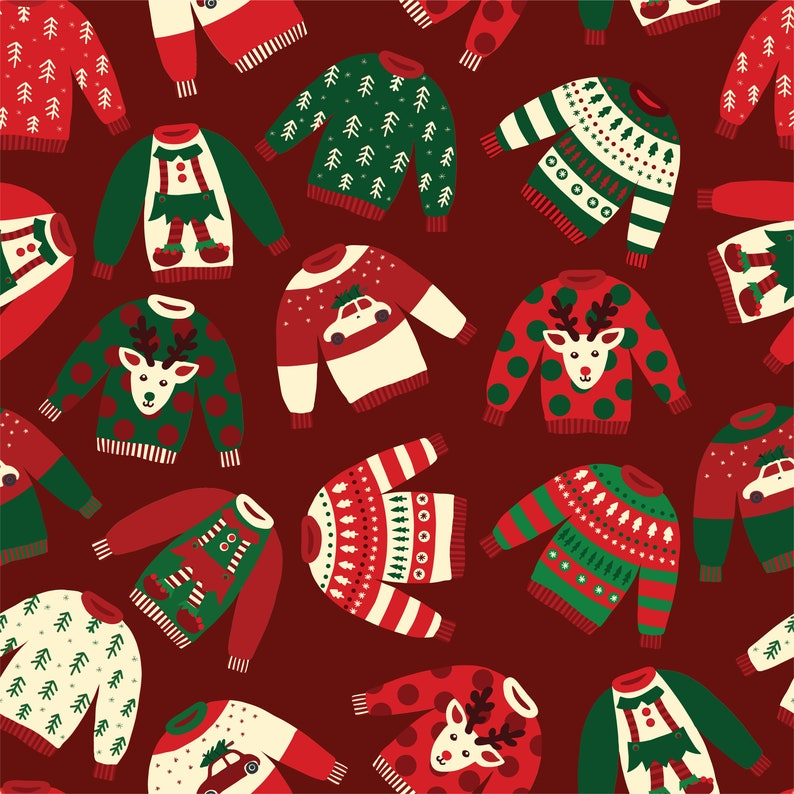 holiday poster Wrapping Paper Set of 3 giftwrap scrapbook paper drawer liner Ugly sweater scrapbook