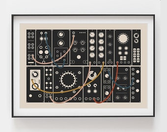 Modular Synthesizer Poster | Inspired by Eurorack | Gift for Music Producer, Cream
