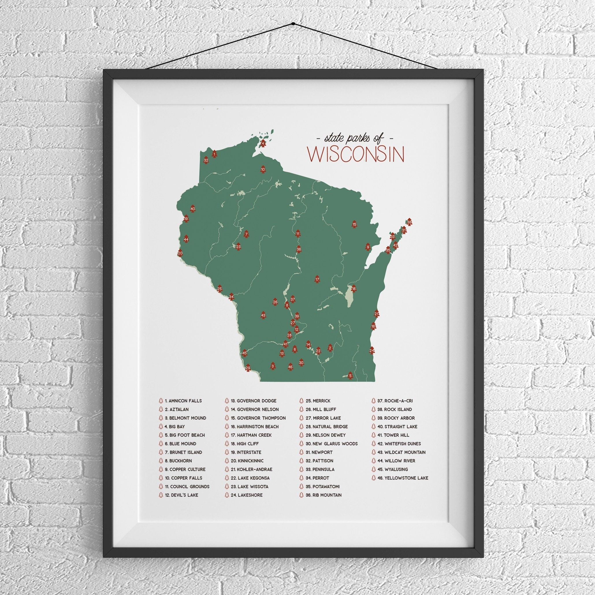 LOCAL PICKUP - Wisconsin State Parks Illustration Map 12x18 Poster Print,  Wisconsin Travel Poster