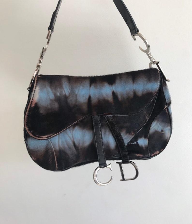 b5feee7ddec5 Rare Vintage Christian Dior Black Pony hair saddle bag.   Etsy