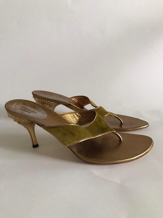Gucci Tom Ford Era Gold Studded Velvet Heels Mules
