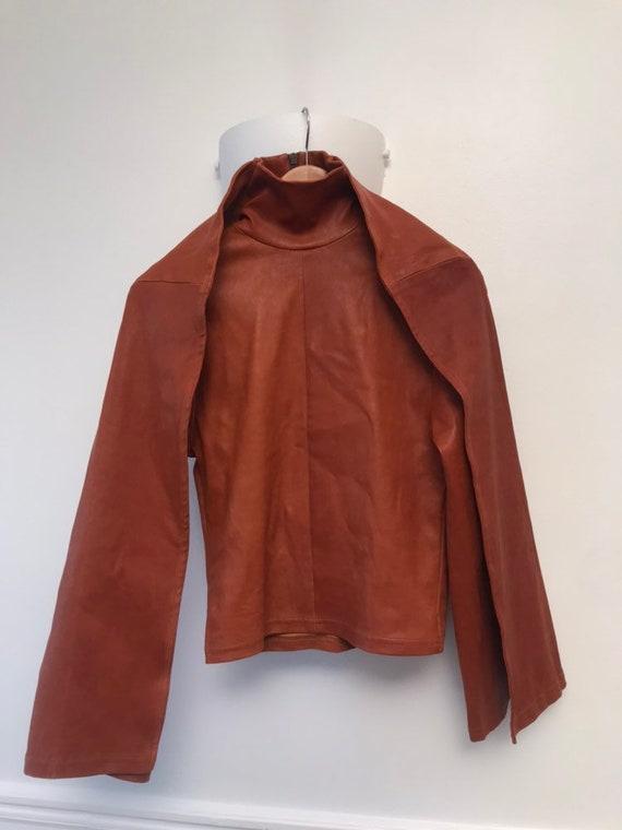 Y/project leather turtleneck jacket brown