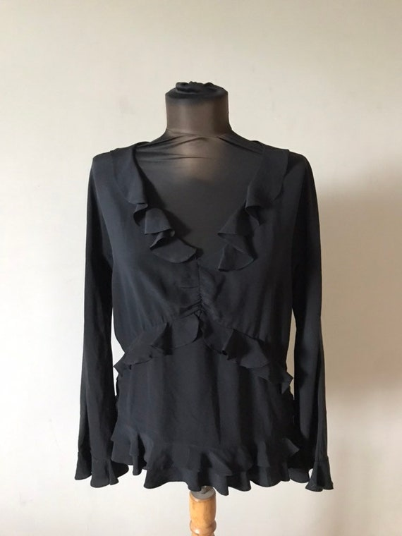 Gucci Tom Ford Era Silk Shirt Blouse Ruffle  Black