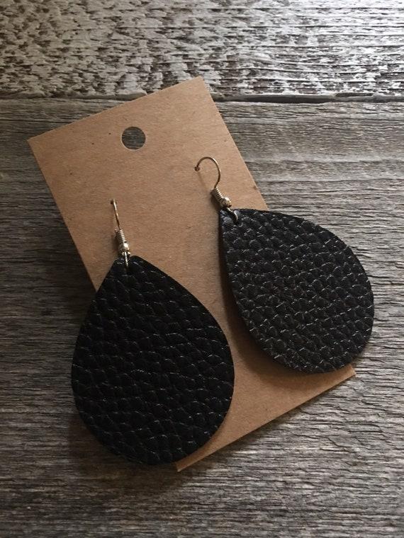 Small Teardrop Faux Leather Earrings