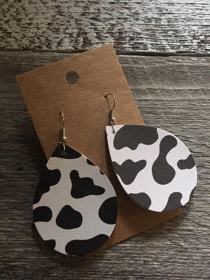 cow print faux leather earrings