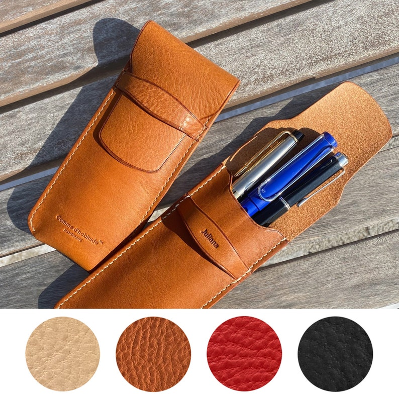 Personalization in RomanKorean alphabet Vegetable tanned leather case Pen pouch Hand-stitching leather case Leather pen case