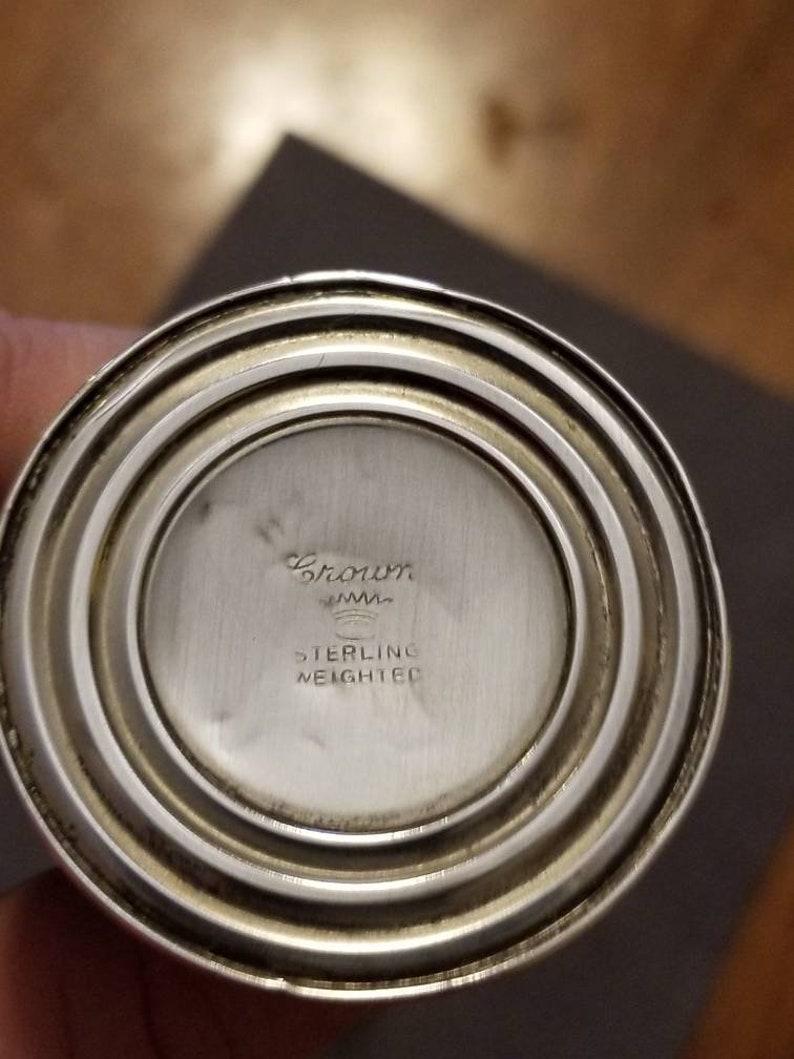 Vintage Sterling Salt /& Pepper Shakers Crown Silver