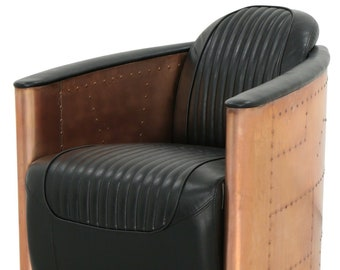6566e65052f4 FLASH SALE Aviator Tomcat Armchair. Black Italian leather and copper. Art  Deco Spitfire chair. REDUCED Low price