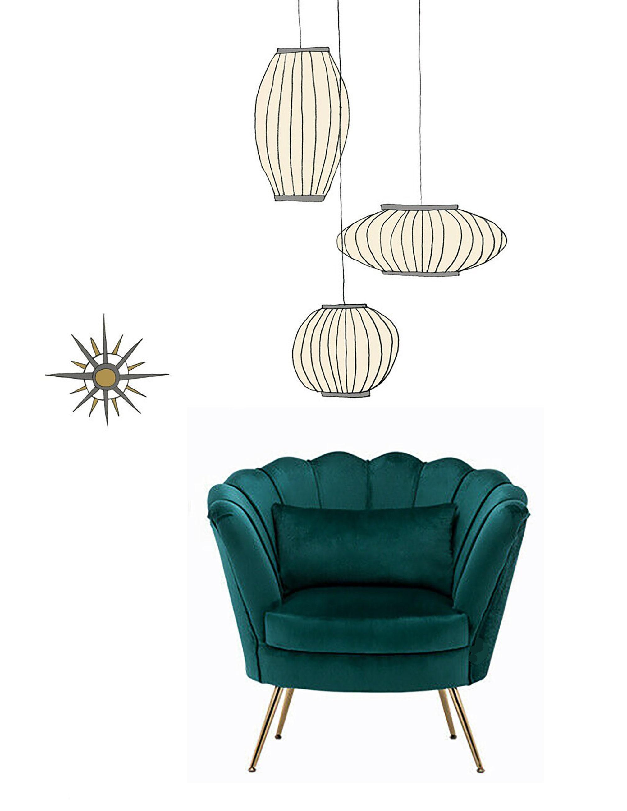 Mid century Modern. Art Deco. Scalloped shell Velvet Chesterfield chair in  Green Teal Brass Legs.