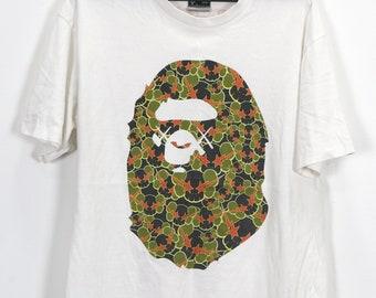45d608c6d Vintage A Bathing Ape T-Shirt Bape x Kaws Limited Edition Vtg Bape Head  Camo Big Logo Large Size L Original