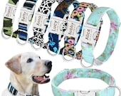 Engraved Dog Collar - Personalized Dog Collar Hard Wearing Nylon 6 Designs to Choose ID Name Dog Collar Floral, Stripes, Camo and Abstract
