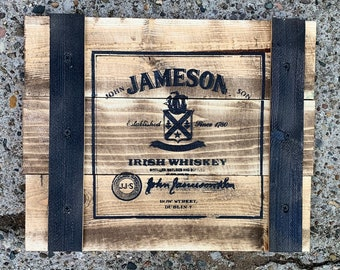 Handcrafted Rustic Wooden Crate Sign - Jameson Irish Whiskey (Landscape Orientation)
