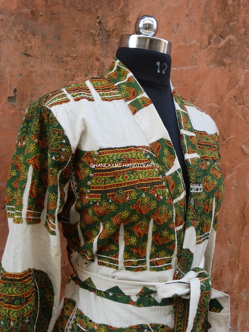 Handmade Cotton Coat Hand Block Ajrak Print Jacket Indian Applique Jacket Hippie Hand Embroidery Coat Cutwork Patch Work Boho