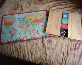 SALE 50% OFF 1957 Parker Brothers Wide World Travel Game Board Game - COMPLETE / Vintage Board Games / Nostalgia