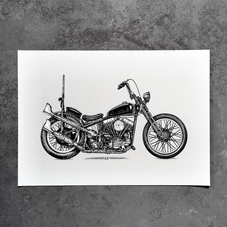 Harley Davidson Panhead Art Print Panhead