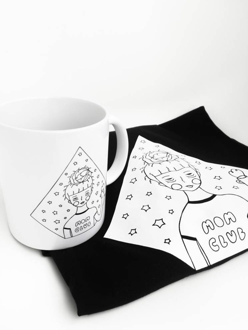 Cup 2nd Choice Tired Mom Club T-Shirt Set Gift for Mamas Cool Mom tired Mom White Mug Black T-Shirt