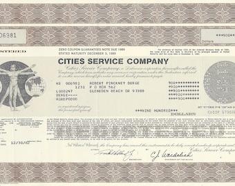 Cities Services Company Stock Bond Certificate Citgo Oil Gas