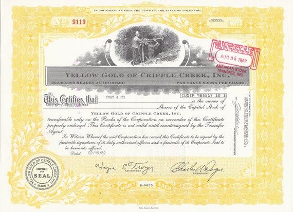 Inc. Yellow Gold of Cripple Creek Colorado