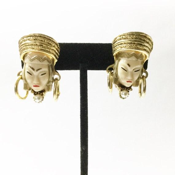 Selro earrings, vtg Selro, Asian earrings, Vtg cl… - image 3
