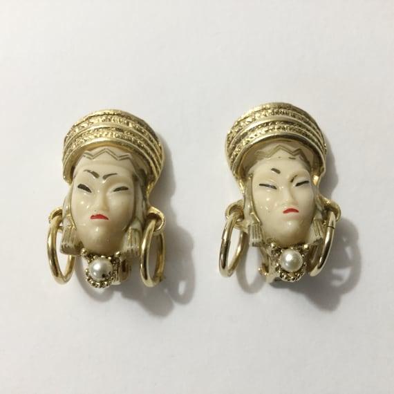 Selro earrings, vtg Selro, Asian earrings, Vtg cl… - image 1