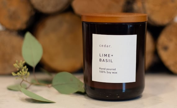 Lime + Basil | Soy wax candle | Soy wax candle | Hand poured | Luxury | Vegan | 300ml | 55 hour burn