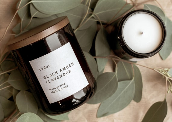 Black Amber + Lavender | Soy wax candle | Relaxing Fragrance| Luxury | Vegan | 300ml 55 hour burn