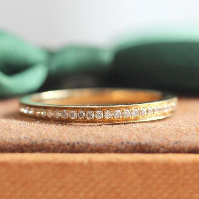 Wedding Ring Band Solid 14K Yellow Gold Ring Diamond Band Half Eternity Diamond Ring Stackable Match Ring Bridal Band Elegant