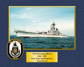 """USS WISCONSIN BB-64 4/"""" NEW FREE SHIP IRON-ON MILITARY EMBROIDERED PATCH"""