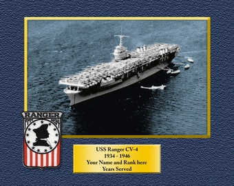 141912713 USS RANGER CV4 Custom Personalized 8.5 X 11 Print of US Navy Ships Unique  Gift Idea for any Occasions