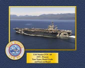 855b405f212 USS NIMITZ CVN68 Custom Personalized 8.5 X 11 Print of US Navy Ships Unique  Gift Idea for any Occasions