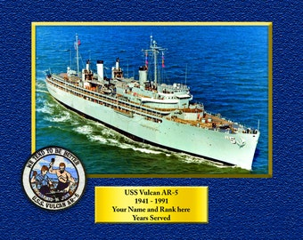 ac15a5334 USS VULCAN AR5 Custom Personalized 8.5 X 11 Print of US Navy Ships Unique  Gift Idea for any Occasions