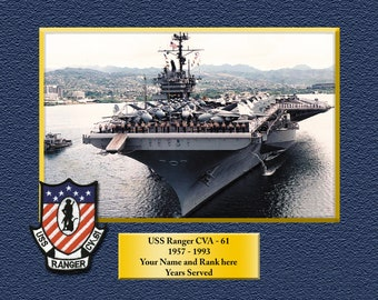 ce242566a USS RANGER CVA61 Custom Personalized 8.5 X 11 Print of US Navy Ships Unique  Gift Idea for any Occasions