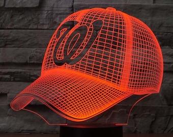 Washington Nationals Baseball Cap 3D LED Illusion Lamp 4ea56df49919