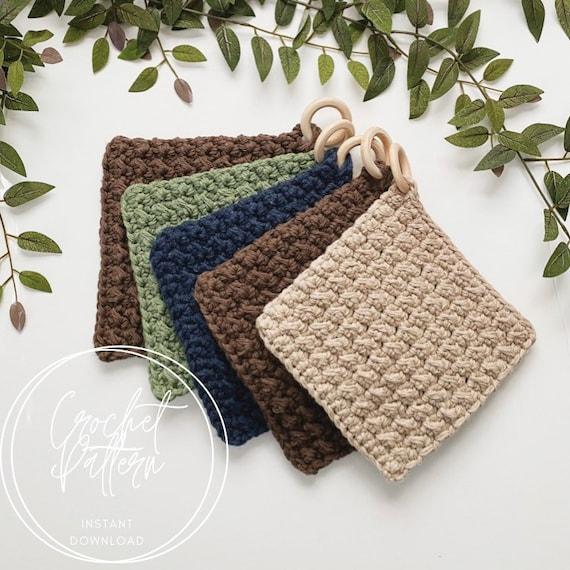 Even Moss Stitch Pot Holder Crochet Pattern  2 Sizes  Made