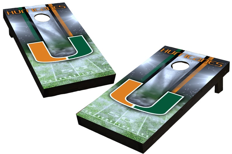 NCAA Miami Hurricanes Custom Cornhole Boards  Regulation size image 0