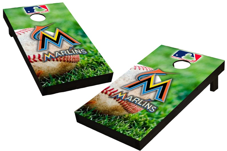 MLB Miami Marlins Themed Custom Cornhole Boards  Regulation image 0